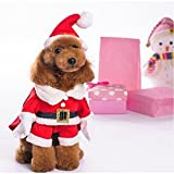 NACOCO Pet Christmas Costumes Dog Suit with Cap Santa Suit Dog Hoodies (Small) by NACOCO
